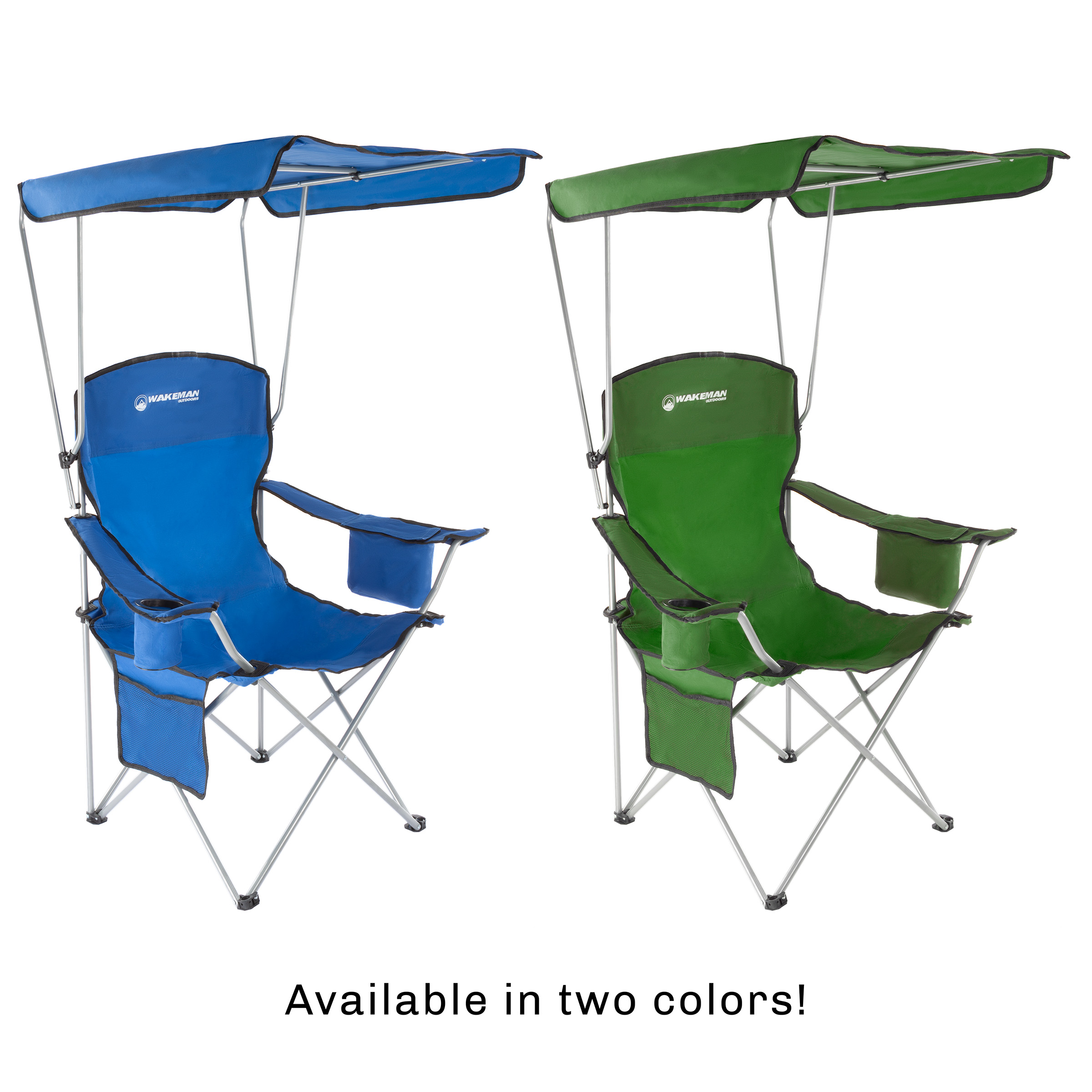 camping chairs with canopy red satin chair sashes camp 300lb capacity sunshade quad seat cup holder cooler carry bag tailgating fishing by wakeman outdoors green