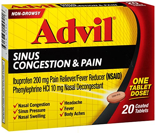 Sinus Congestion & Pain Reliever Coated Tablets 20 Count ...