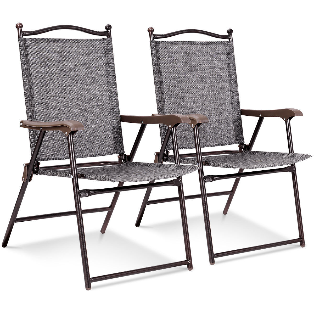 Patio Folding Chairs Costway Set Of 2 Patio Folding Sling Back Chairs Camping Deck Garden Beach Gray