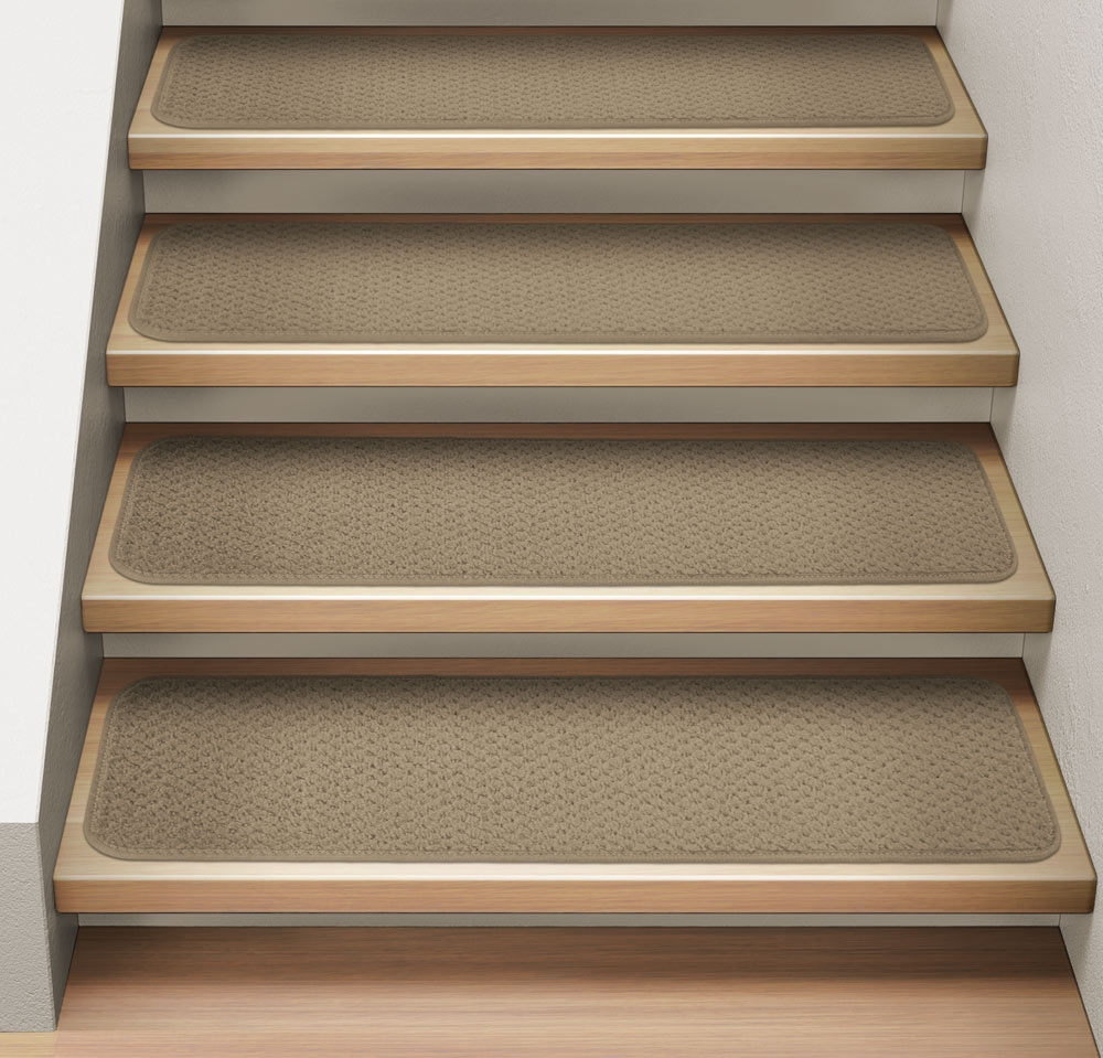 Set Of 15 Attachable Indoor Carpet Stair Treads Camel | 36 Carpet Stair Treads
