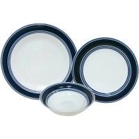 Mainstays Blue Banded 12-Piece Stoneware Dinnerware Set ...