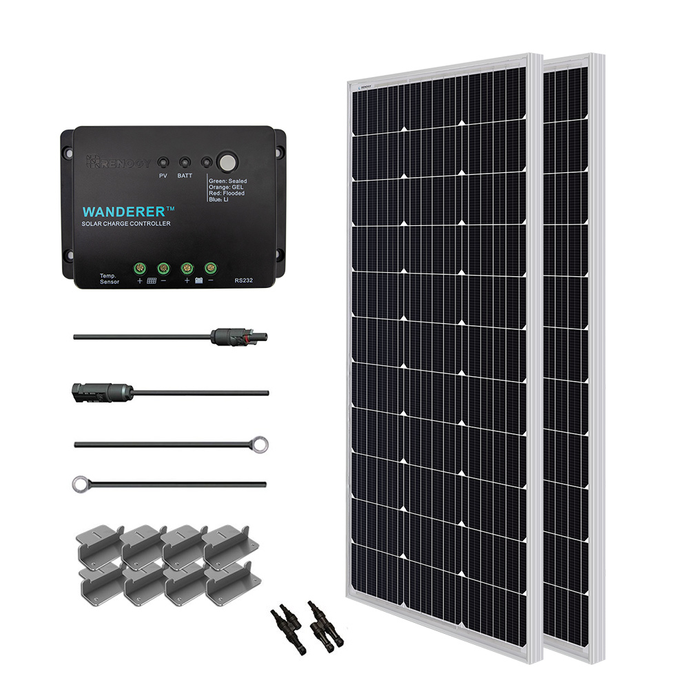 hight resolution of renogy 200w 12v solar panel monocrystalline off grid starter kit with 30a wanderer charger controller walmart com