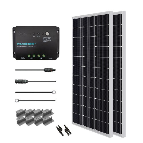 small resolution of renogy 200w 12v solar panel monocrystalline off grid starter kit with 30a wanderer charger controller walmart com