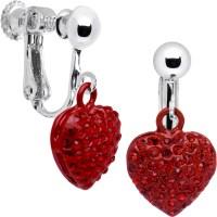 Little Red Heart Clip On Earrings - Walmart.com