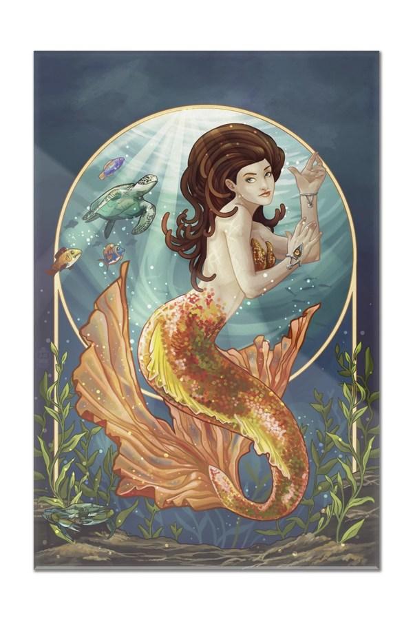 Mermaid Orange Tail - Lantern Press Poster 8x12 Acrylic