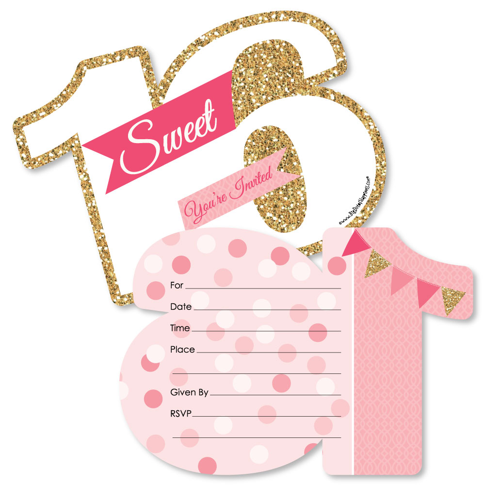 sweet 16 16th birthday shaped fill in invitations 16th birthday party invitation cards with envelopes set of 12 walmart com