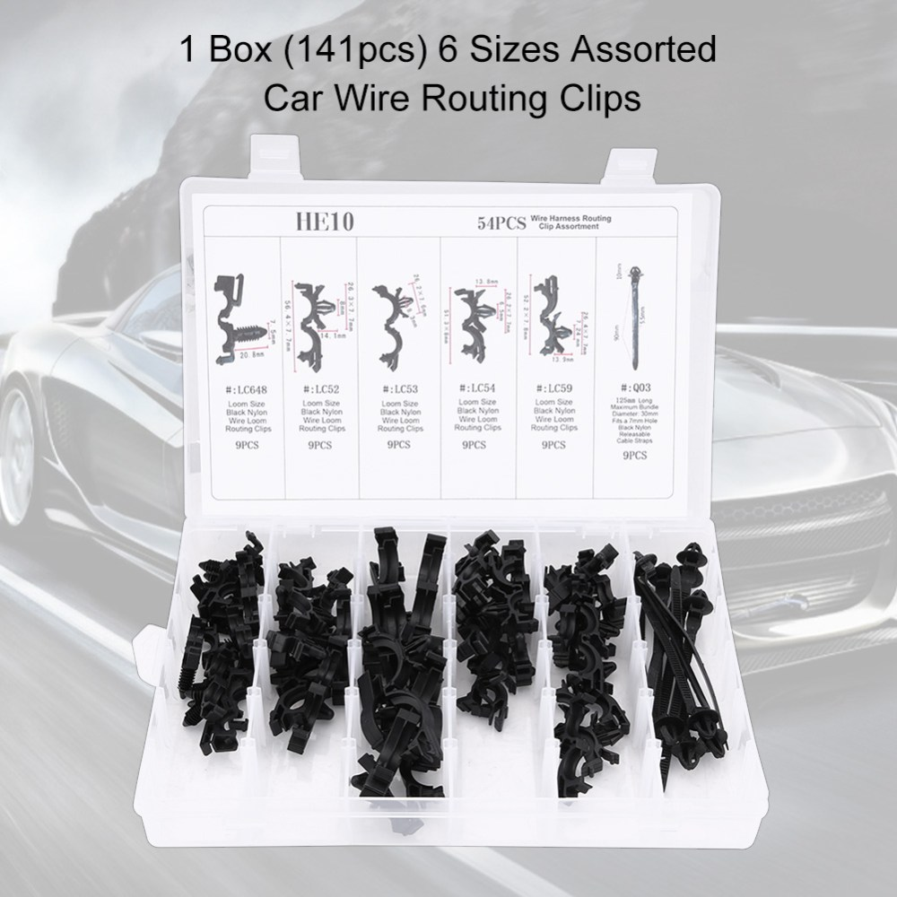 medium resolution of 54pcs 6 sizes assorted car wiring harness wire routing clip convoluted conduit clip wire routing clip kit wire clip kit walmart com