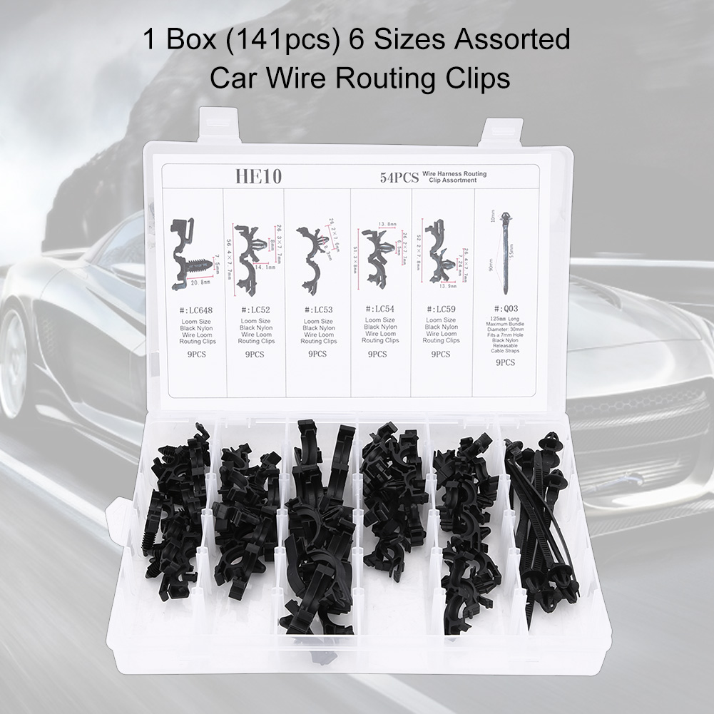 hight resolution of 54pcs 6 sizes assorted car wiring harness wire routing clip convoluted conduit clip wire routing clip kit wire clip kit walmart com