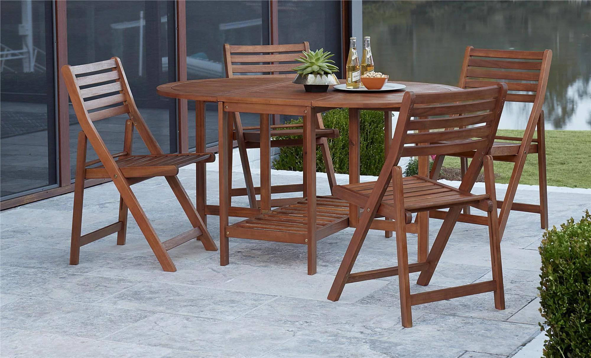 COSCO Outdoor Living 5 Piece Acacia Wood Patio Dining