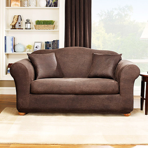 Sure Fit Stretch Leather 2 Piece Sofa Slipcover Brown Walmart Com