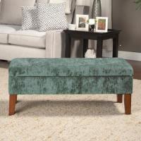 HomePop Teal Velvet Storage Bench - Walmart.com