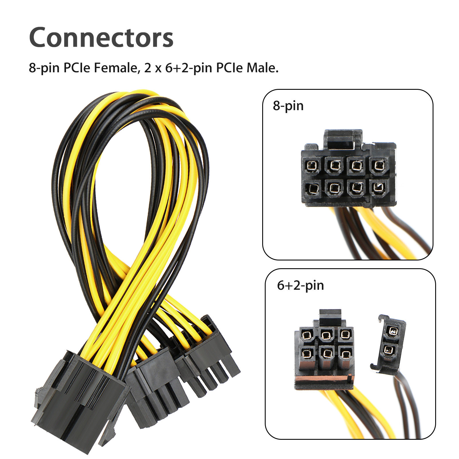 medium resolution of 5pc pci e 8 pin to 2x 6 2 pin power splitter cable pcie pci express walmart canada
