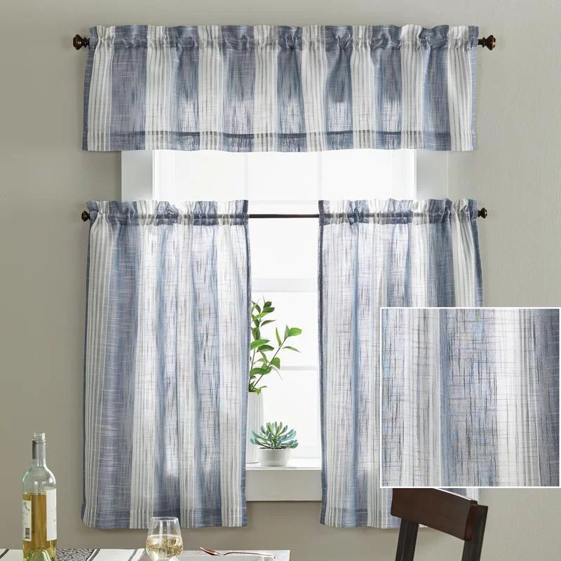 kitchen drapes play wood curtains walmart com product image better homes gardens woven stripe tier set
