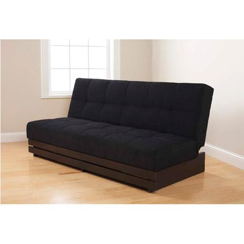 Mainstays Convertible Futon Sofa Bed Black Microfiber with Wood Base  Walmartcom