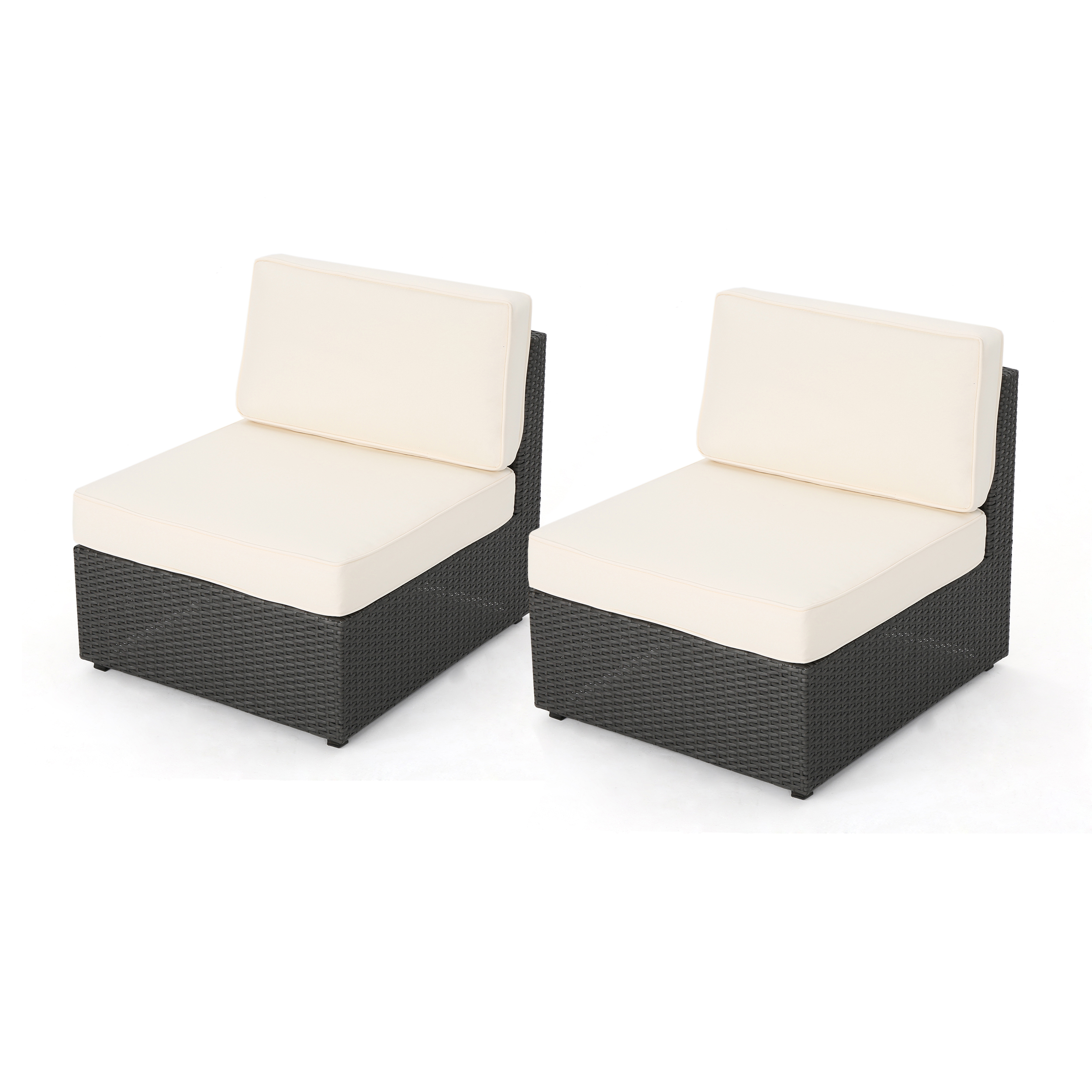 sabrina sofa kivik 3 plazas chaise longue outdoor grey wicker armless sectional seat with water resistant cushions set of 2 white walmart com
