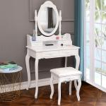 Ktaxon Elegance White Dressing Table Vanity Table And Stool Set Wood Makeup Desk With 4 Drawers Mirror Walmart Com Walmart Com