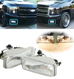 beamnova 2 pack h16 5202 rectangle halogen fog lights bulb kit with wiring harness for 2007 2013 chevy suburban avalanche tahoe silverado 2014 chevy  [ 1000 x 1000 Pixel ]
