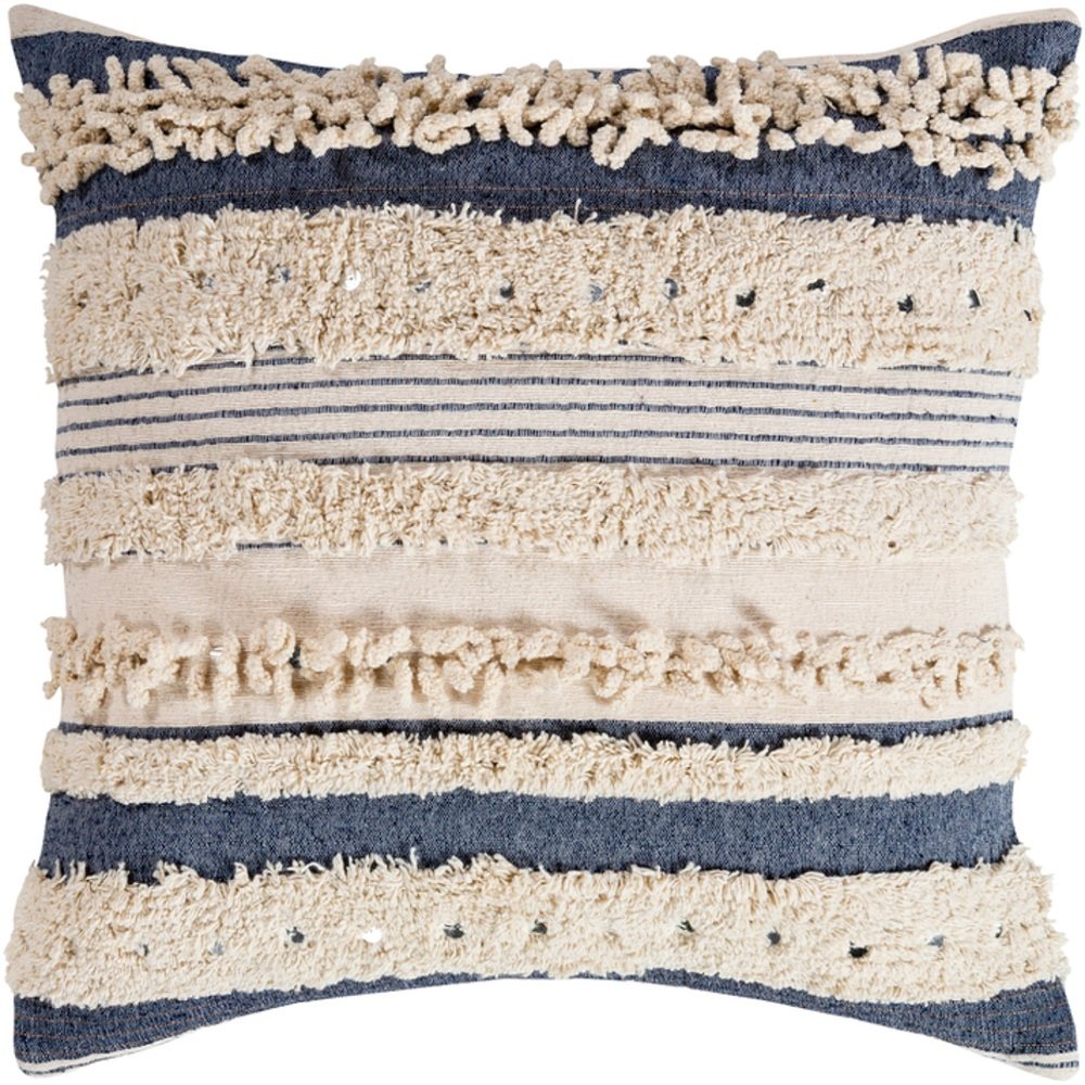 22 navy blue and cream striped pattern square throw pillow cover