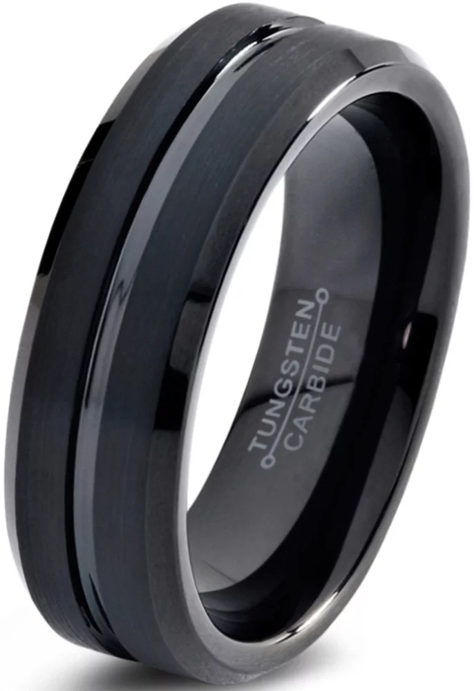 Charming Jewelers Tungsten Wedding Band Ring 6mm for Men Women Comfort Fit Black Beveled Edge