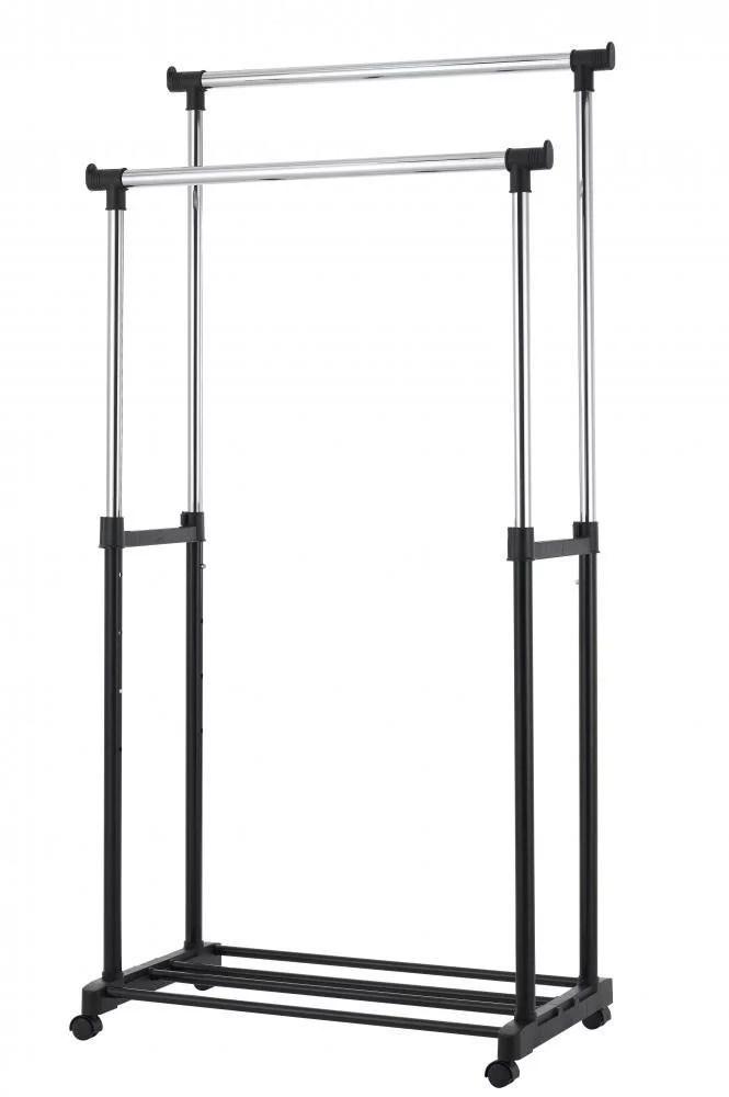 portable double adjustable heavy duty clothes hanger rolling garment rack