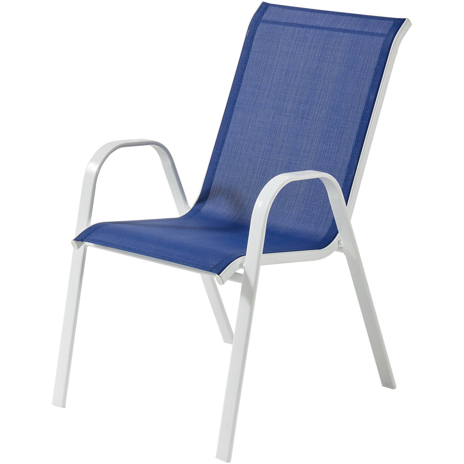 Sling Stacking Chair Mainstays Heritage Park Stacking Sling Chair Royal Blue