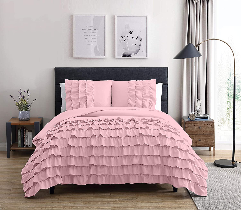 Chezmoi Collection Ella 3 Piece Pink Shabby Chic Waterfall Ruffled Comforter Set Full Size Walmart Com Walmart Com