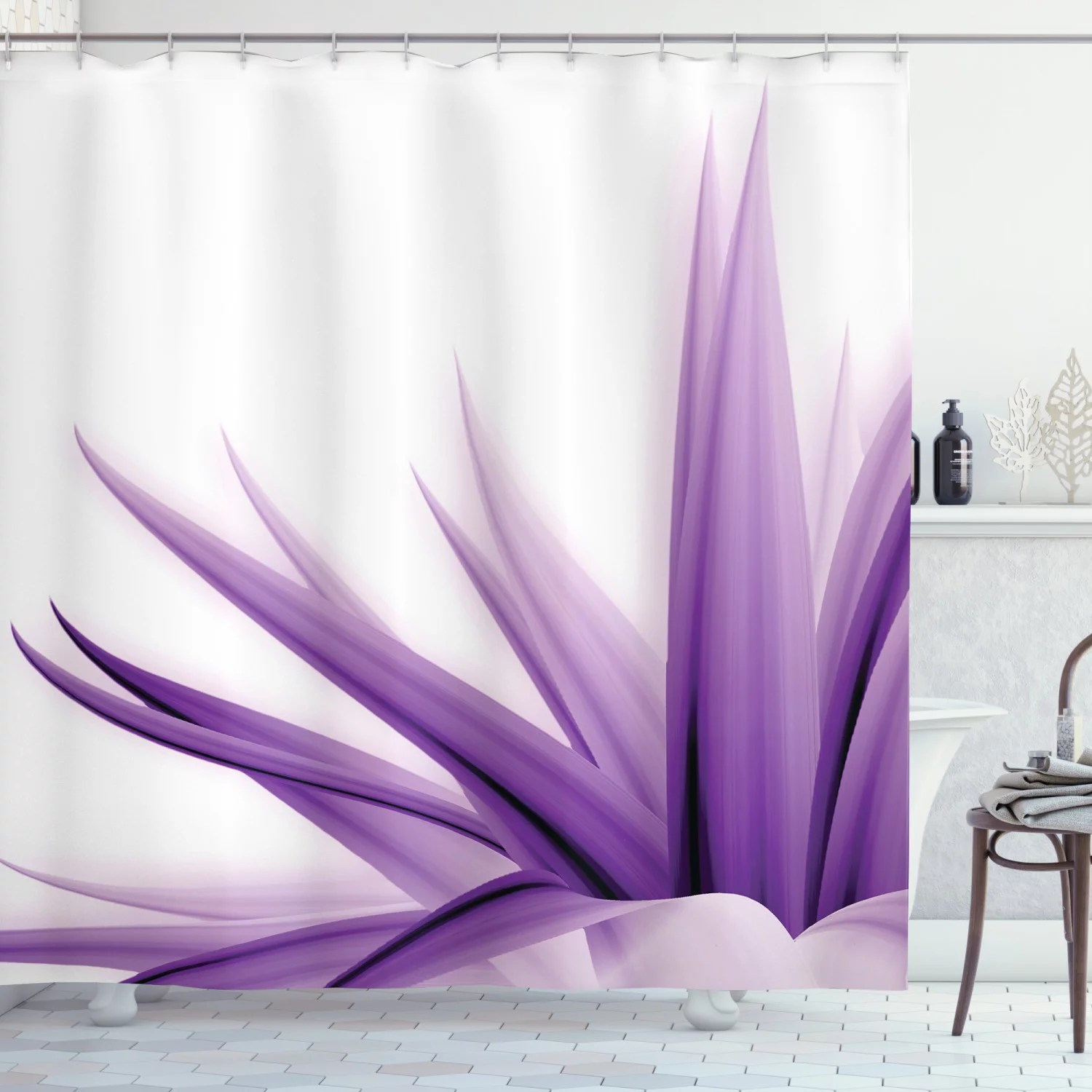 flower shower curtain purple ombre style long leaves water colored print with calming details image fabric bathroom set with hooks purple and