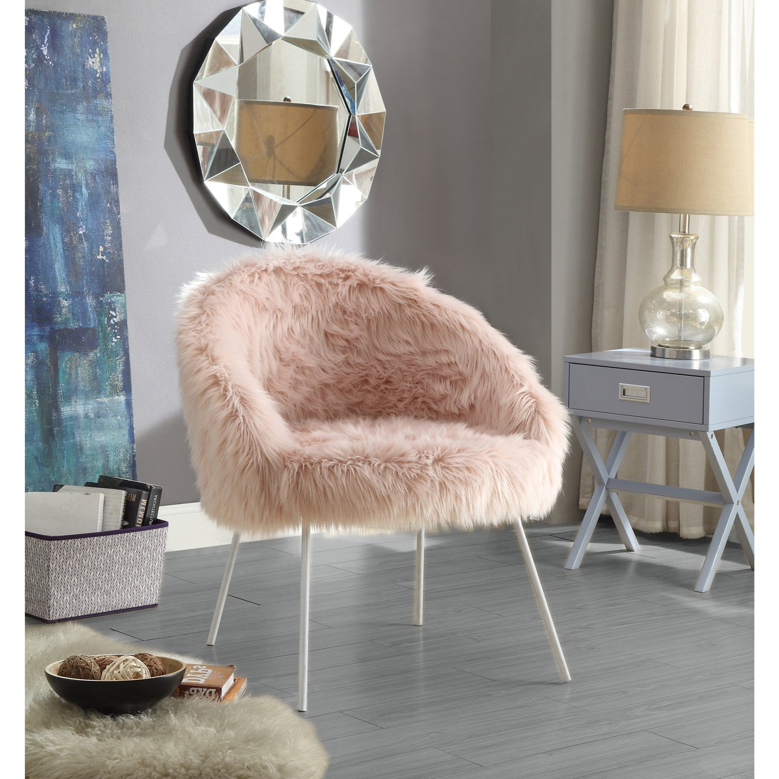 inspired home norah faux fur accent chair