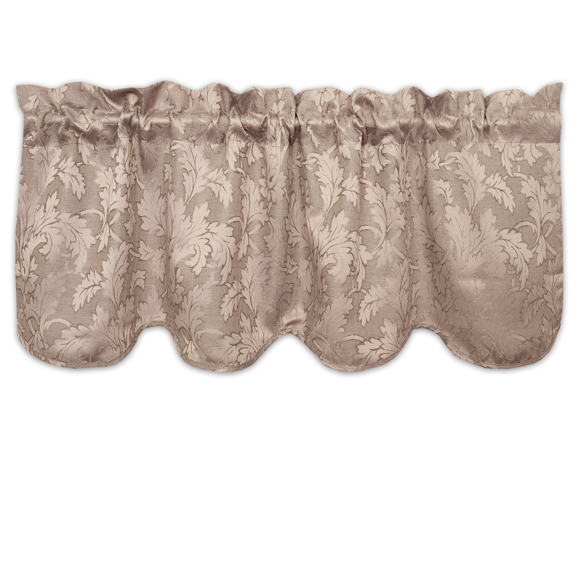 Flora Scrolling Leaf Jacquard Scalloped Window Curtain
