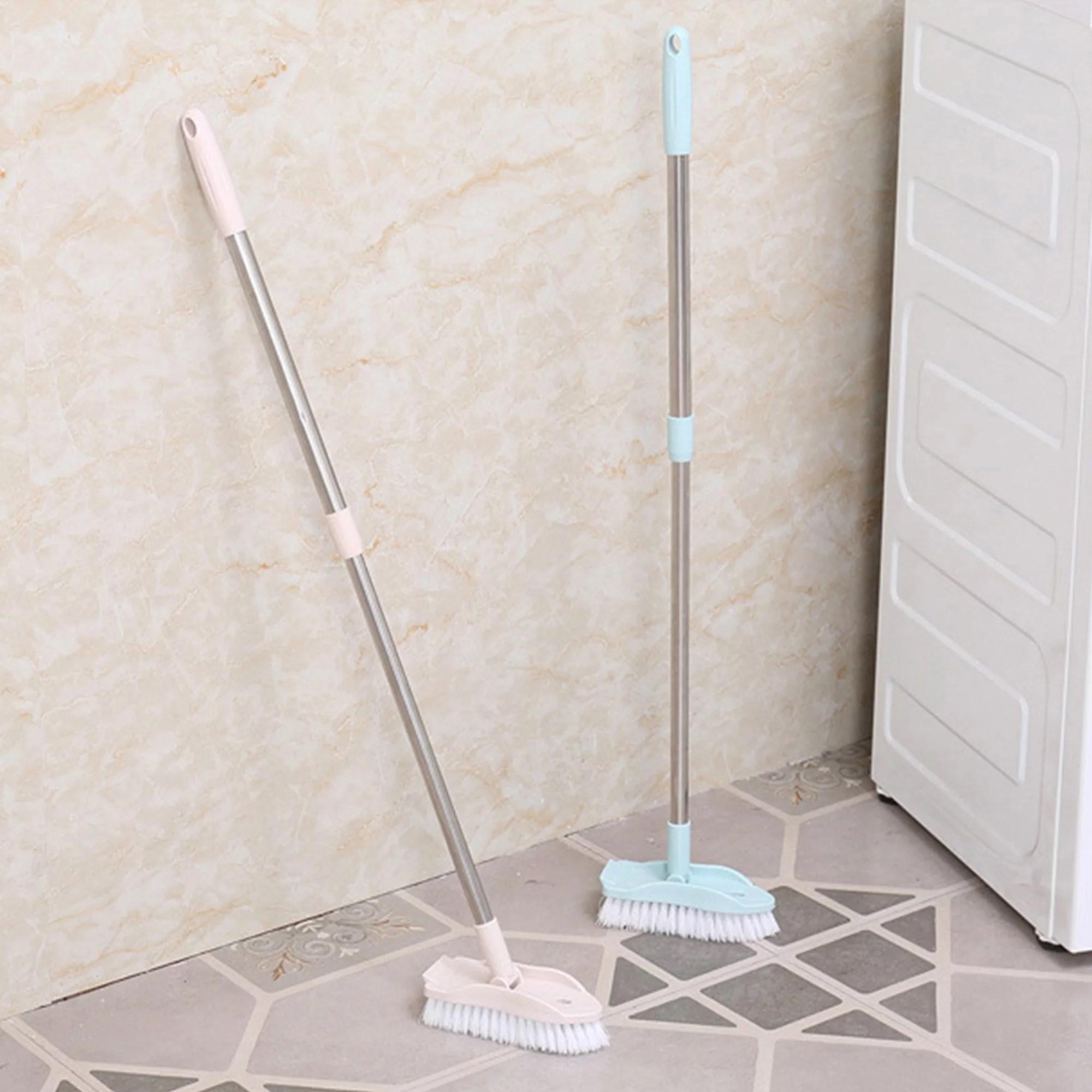 2 pack floor scrub brush with long handle adjustable stainless metal handle scrubber with stiff bristles for cleaning tile bathroom tub bathtub