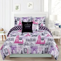 Bedding Queen 5 Piece Girls Comforter Bed Set, Paris