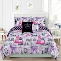 Bedding Queen 5 Piece Girls Comforter Bed Set, Paris ...