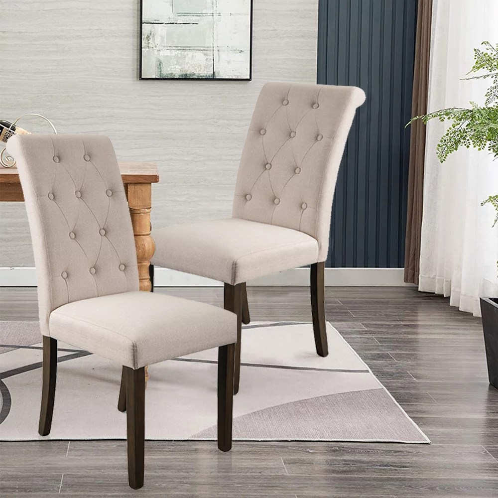 upholstered dining chairs set of 2 tufted high back padded dining chairs w solid wood legs classic fabric beige linen parsons dining side chair for