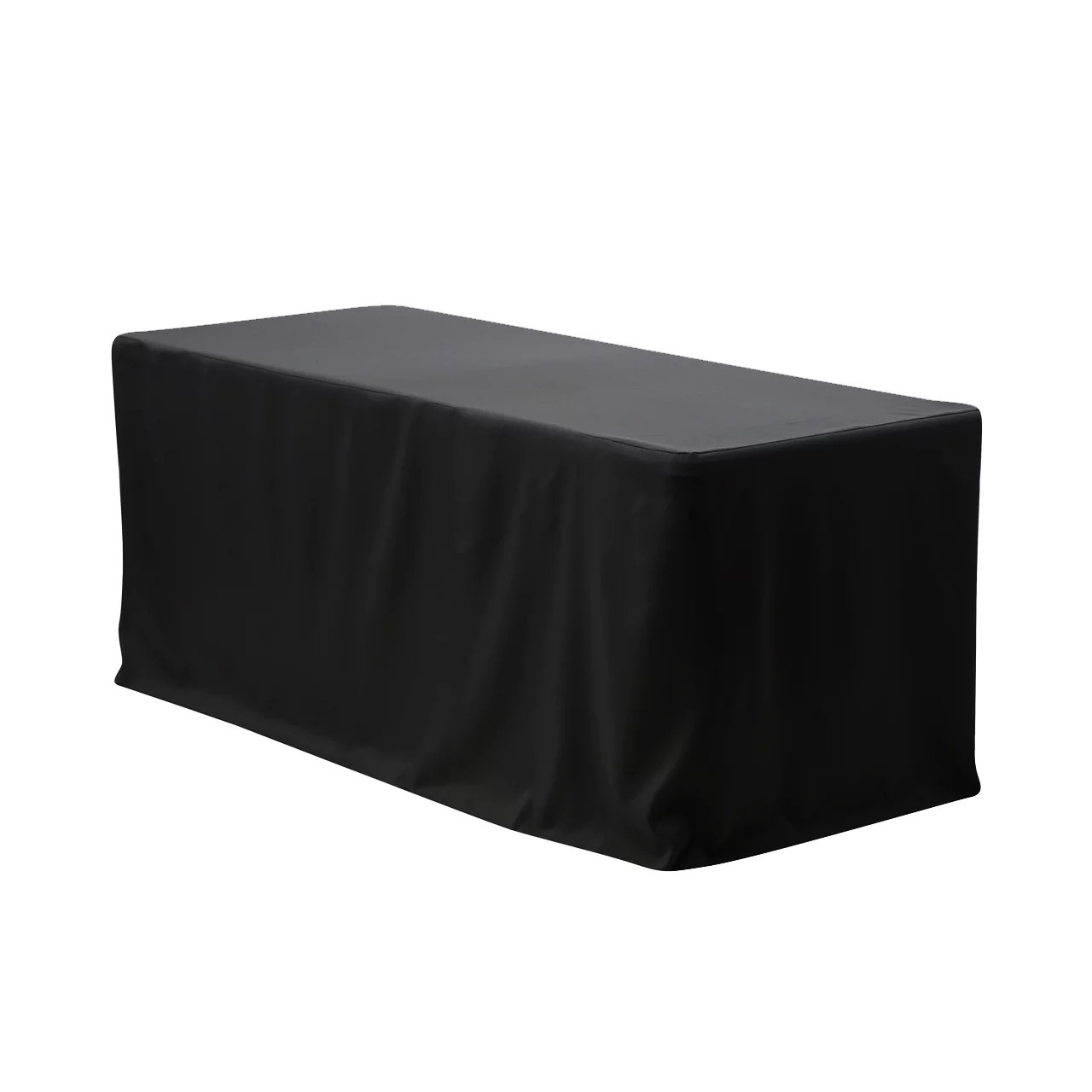 Your Chair Covers Your Chair Covers 6 Ft Fitted Polyester Tablecloth Rectangular Black