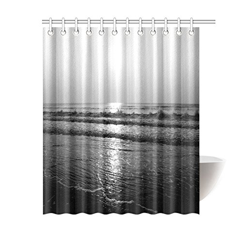artjia black and white shower curtain nautical sand beach polyester fabric shower curtain bathroom sets with hooks 60x72 inches