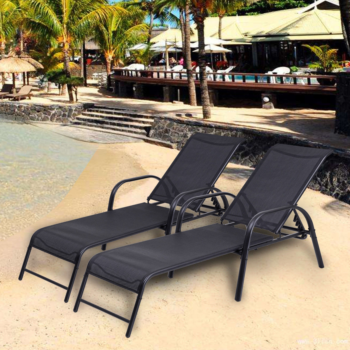 Pool Chaise Lounge Chairs Costway Set Of 2 Patio Lounge Chairs Sling Chaise Lounges Recliner Adjustable Back