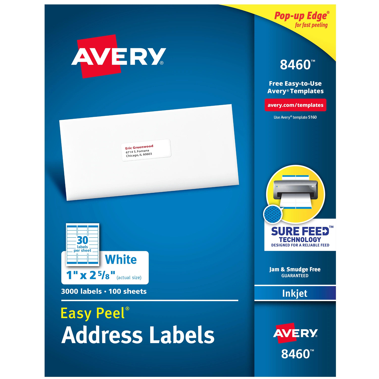 Avery Easy Peel Address Labels 1 X 2 5 8 3 000 Labels