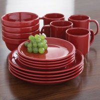 Mainstays 16pc Stackable Red Dinnerware Set - Walmart.com