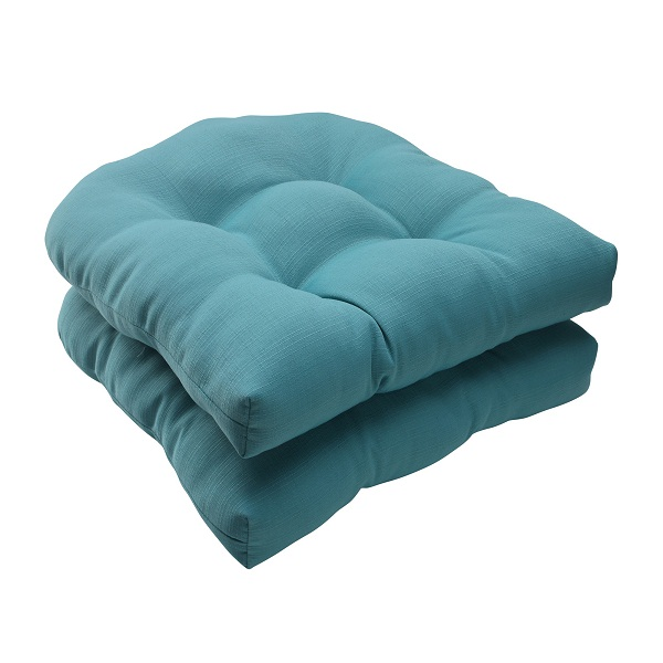 set of 2 aquatic turquoise outdoor patio tufted wicker seat cushions 19