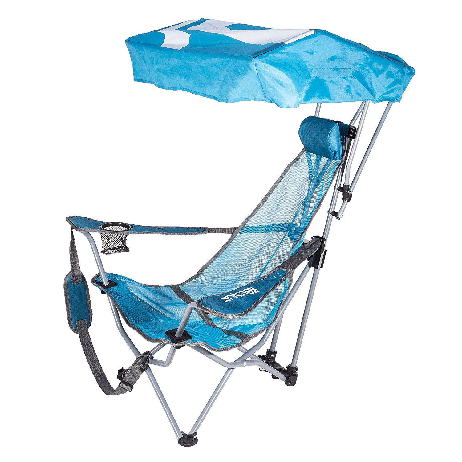 lawn chair with canopy covers harrogate kelsyus backpack beach portable camping folding teal walmart com
