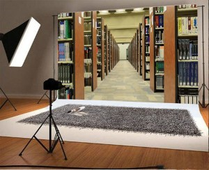 study bookshelf library background backdrop bookcase books floor marble interior polyster greendecor adults props studio zoom
