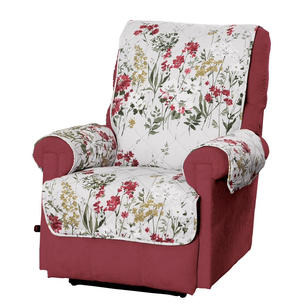 garden recliner chair covers transport walmart botanical flower furniture protector cover, recliner, red - walmart.com