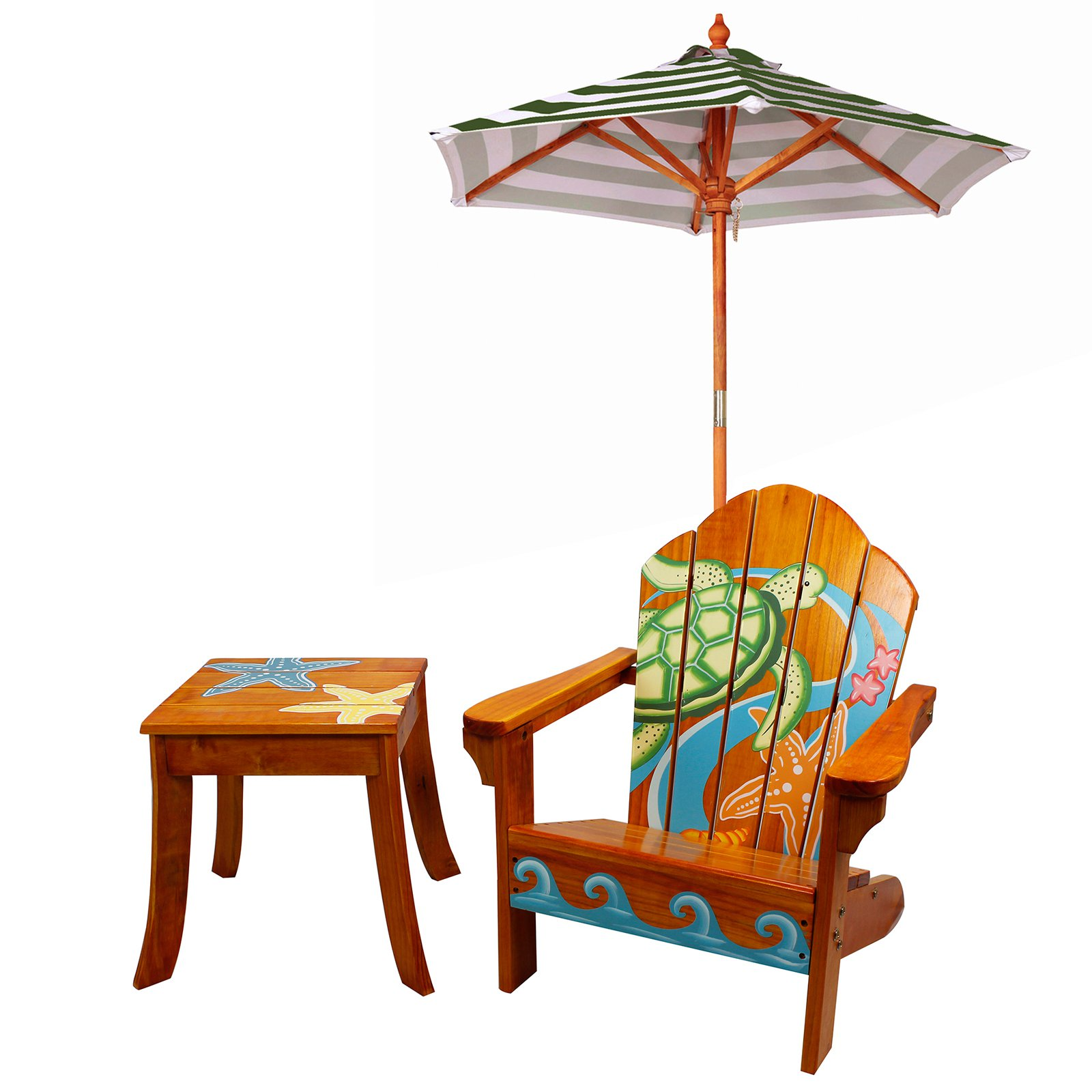 kids adirondack chair and table set with umbrella orthopaedic wingback high seat for the elderly teamson sea turtle outdoor wood amp walmart com
