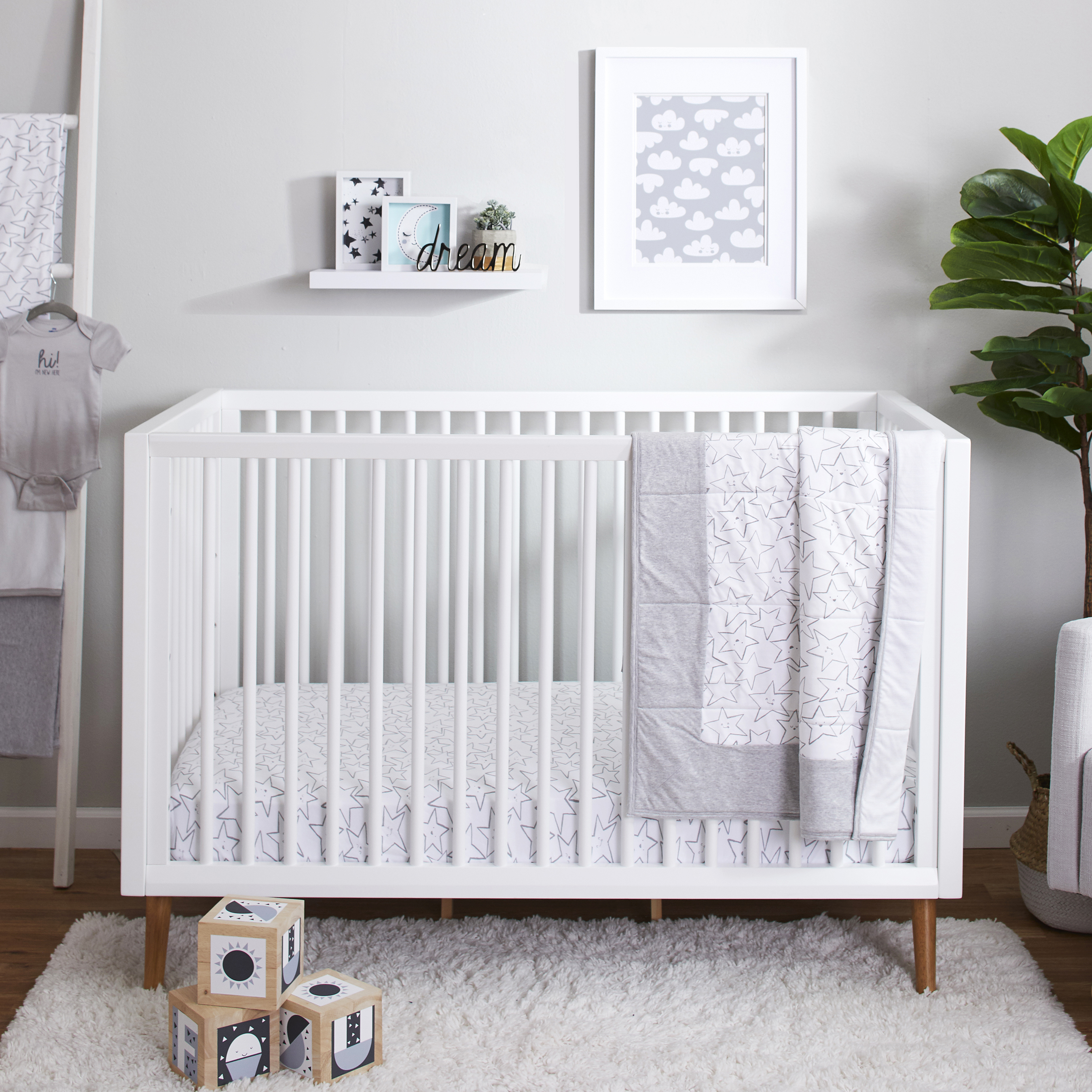 little star organic pure organic cotton crib bedding set 3 pc gray little dreamer