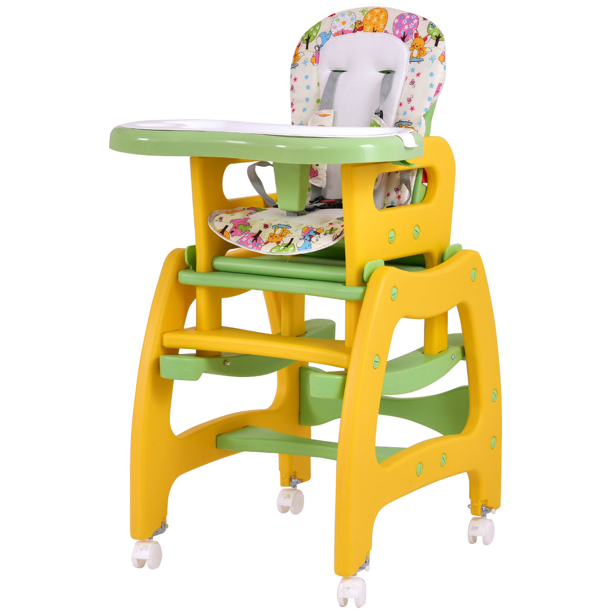 Wooden High Chairs For Babies Costway 3 In 1 Baby High Chair Convertible Play Table Seat Booster Toddler Feeding Tray