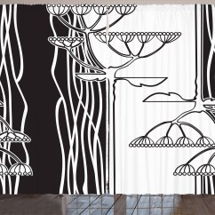 Black And White Curtains For Living Room Entertainment System 2 Panels Set Abstract Fennel Plants With Seeds Monochrome Garden Condiment