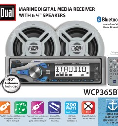 dual electronics wcp365bt marine stereo lcd single din with built in bluetooth usb port two 6 5 inch dual cone marine speakers long range marine antenna [ 3333 x 3092 Pixel ]