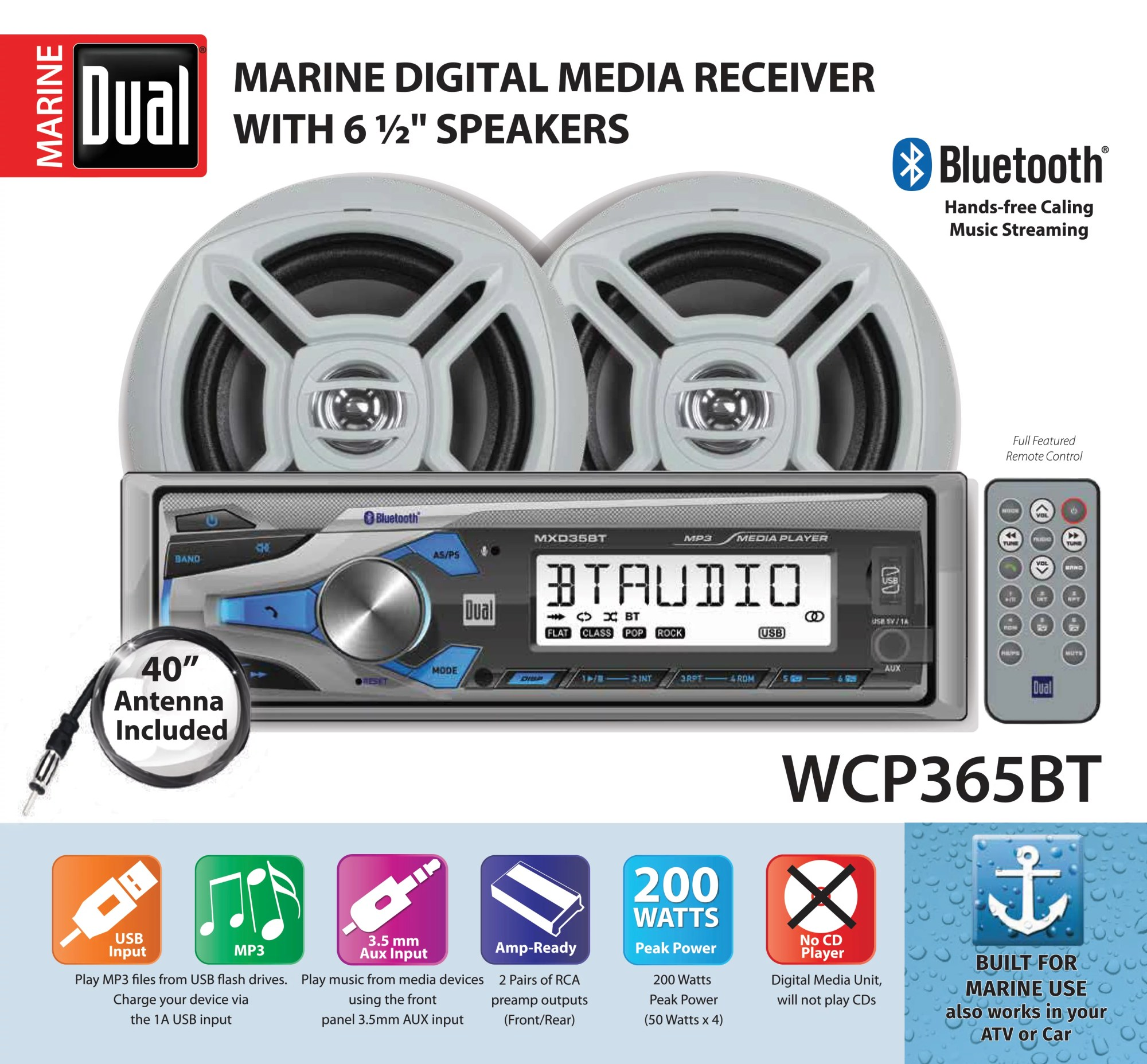 hight resolution of dual electronics wcp365bt marine stereo lcd single din with built in bluetooth usb port two 6 5 inch dual cone marine speakers long range marine antenna