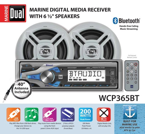 small resolution of dual electronics wcp365bt marine stereo lcd single din with built in bluetooth usb port two 6 5 inch dual cone marine speakers long range marine antenna