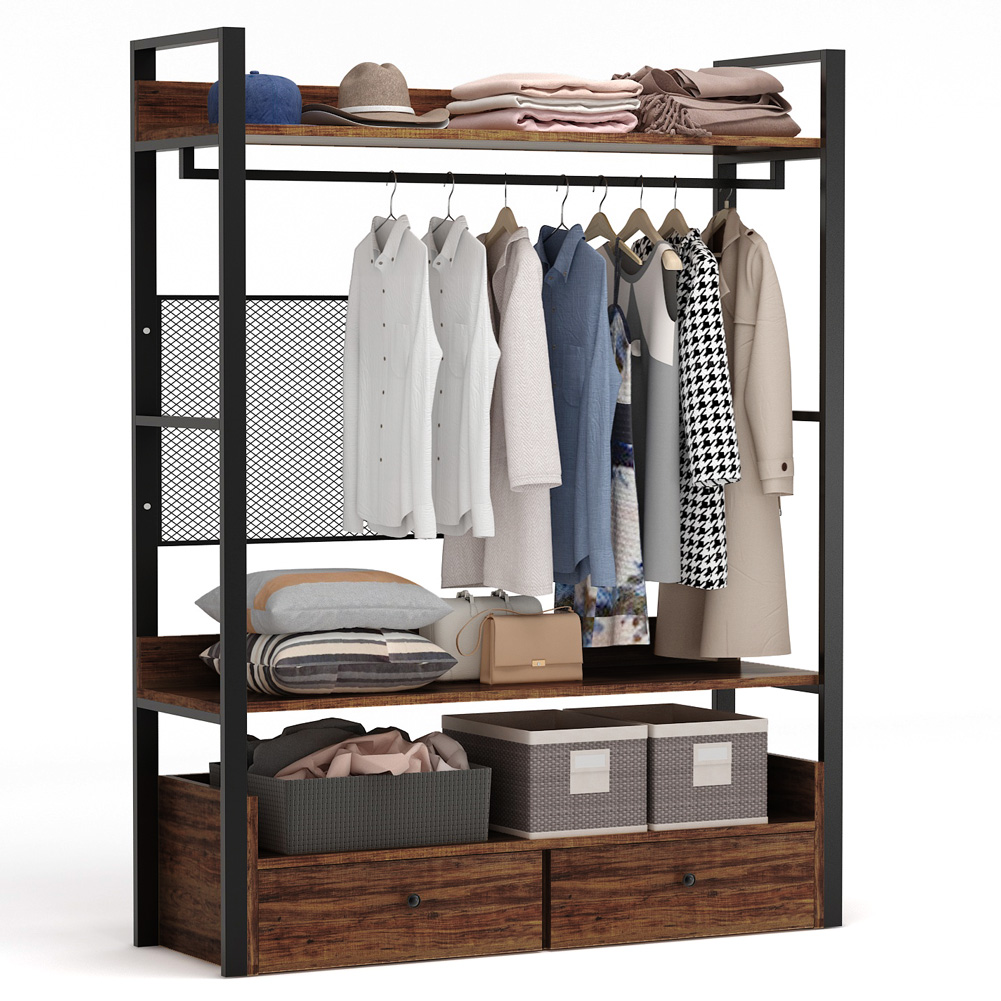 tribesigns free standing closet organizer heavy duty clothes rack with 6 shelves and handing bar large closet storage stytem closet garment